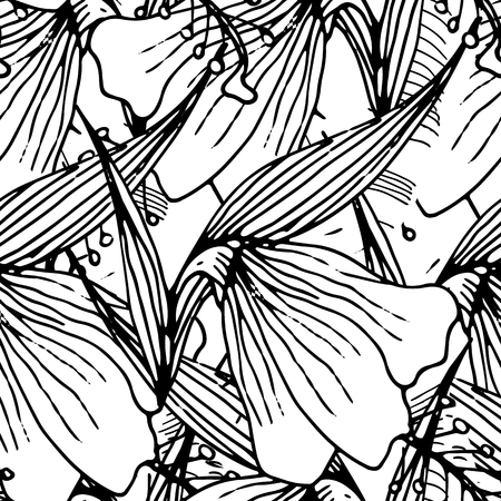 Illustration pour Seamless Background With Palm  Leaves And Tropical Flowers. Jungle Pattern  For Textile Or Book Covers, Manufacturing, Wallpapers, Print, Gift Wrap And Scrapbooking. Hand Drawn Monochrome Wallpaper. - image libre de droit