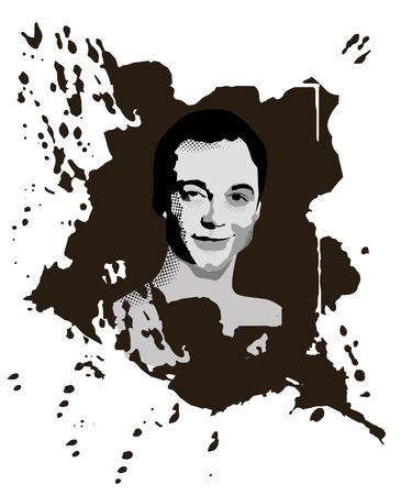 Illustration pour Novorossyisk, Russia - February 19, 2019: Portrait of a Sheldon Cooper сharacter from the popular TV Series The Big Bang Theory. Grunge texture, artwork, monochrome vector illustration. - image libre de droit