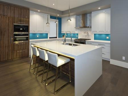 Photo pour Modern kitchen in new luxury house - image libre de droit