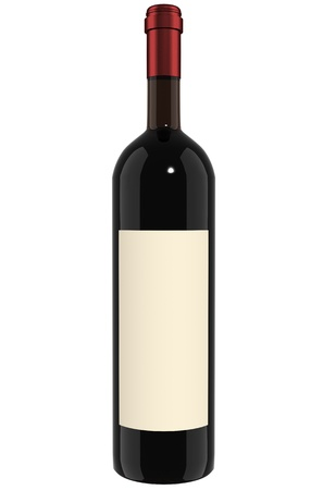 A Bottle of red wine with empty label.