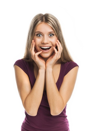 Young blond woman looking very surprised, on white