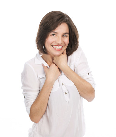 Portrait of a beautiful girl looking joyful, isolated on white
