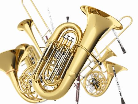 Photo pour Wind musical instruments  on white. 3d render - image libre de droit