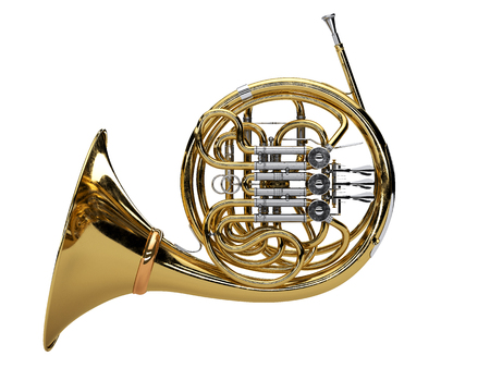Aged french horn isolated on white background. 3d render