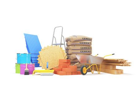 Foto de Construction materials isolated on white background. 3D rendering - Imagen libre de derechos