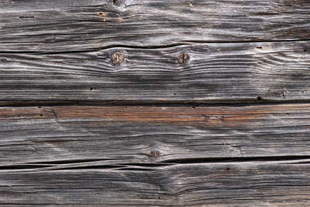 Photo pour Wall of an old vintage wooden house built from hand-hewn pine logs. Colorful textured old wood cracked background - image libre de droit