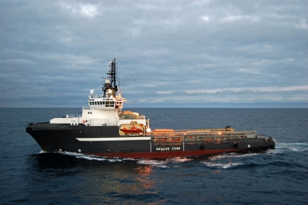 Anchor handling vessel in the North Sea