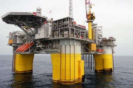 Fixed Semi Submersible Oil platform in the North Sea