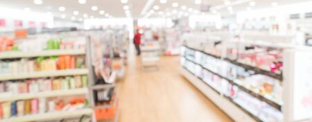 Panorama view blurry background customer shopping for cosmetics, makeup supplies at beauty store