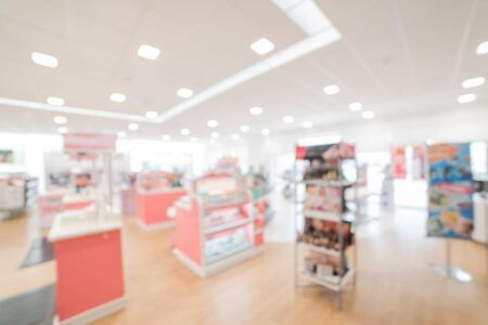 Blurry background cosmetics and makeup supplies at American beauty store
