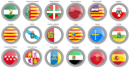 Illustration for Set of icons. Autonomous communities of Spain flags. Vector. - Royalty Free Image