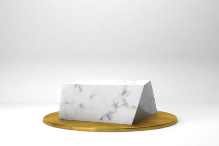 Photo for geometric shape 3d rendering stage for products or achivments marble and gold - Royalty Free Image