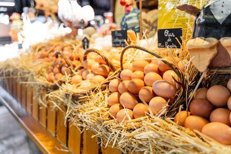 Eggs st the Mercat de la Boqueria in Spain. Poultry farming