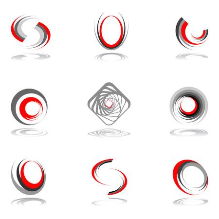 Design elements in red-grey colors #2.  illustration.