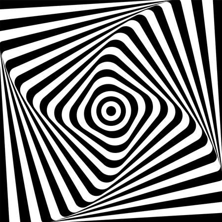 Illustration for Abstract illusion of 3D whirl movement. Op art vector design. - Royalty Free Image