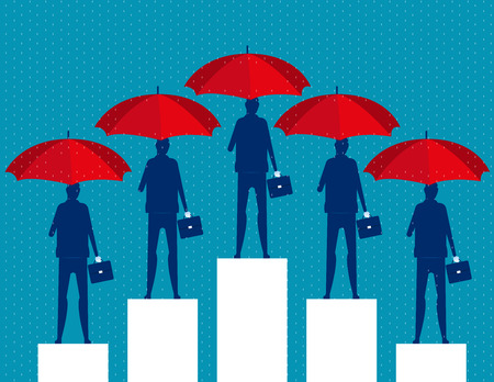 Business people and red umbrella. Concept business vector illustration.のイラスト素材