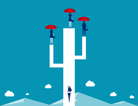 Business team standing and holding red umbrella. Concept business vector illustration.のイラスト素材