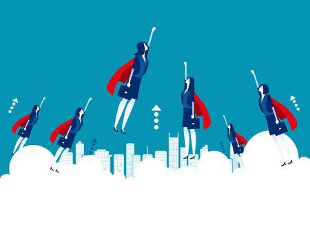 Illustration pour Business heroes flying goal. Concept business vector illustration, Successful, Teamwork, Office worker. - image libre de droit