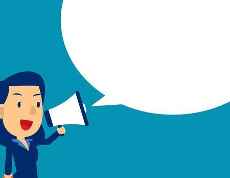 Illustration pour Cute man shouting in megaphone. Concept business message vector illustration, Kid business, Flat kid business cartoon design - image libre de droit