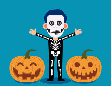 Male celebrate halloween wears skeleton costume. Happy Halloween Day