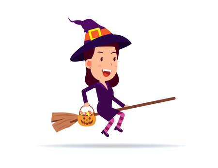 Female celebrate halloween wears witch costume. Happy Halloween Day