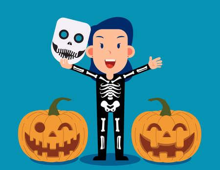 Female celebrate halloween wears skeleton costume. Happy Halloween Day