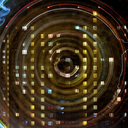 Photo for Abstract swirl nigh light on residental building - Royalty Free Image