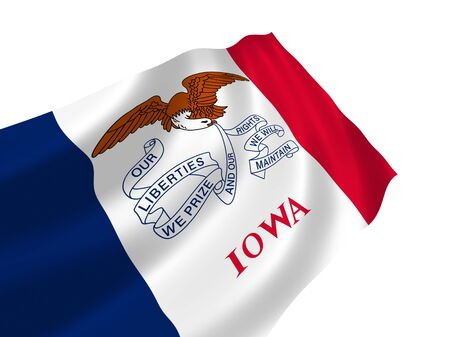 Illustration of Iowa state flag waving in the wind (see more other flags in my collection)