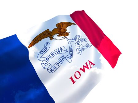 Illustration of Iowa state flag with sky, waving in the wind