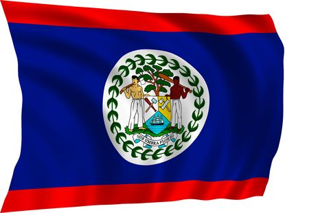 Flag of Belize waving in the wind
