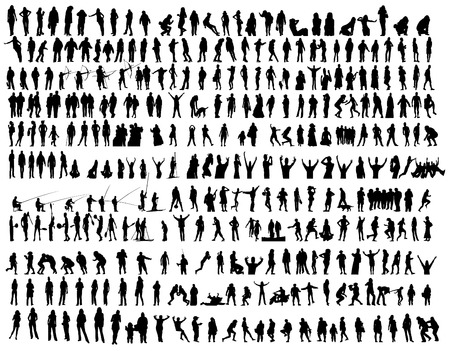 People in action vector clip-art collection