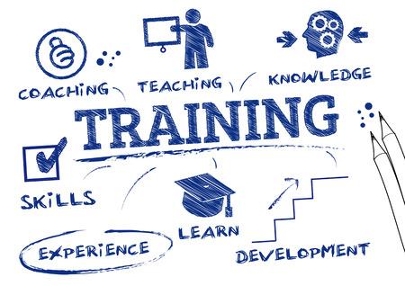 Illustration pour training- chart with keywords and icons - image libre de droit
