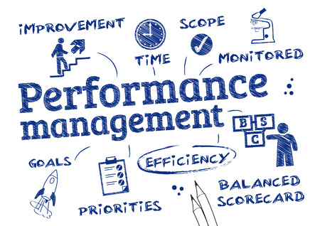 Illustration pour Performance management - chart with keywords and icons - image libre de droit