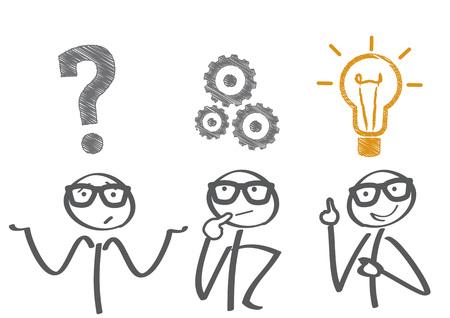 Illustration pour Thinking. Businessman solving a problem - image libre de droit