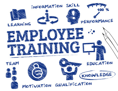 Photo pour employee training. Chart with keywords and icons - image libre de droit