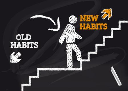 Ilustración de old Habits new habits - Blackbord with Text and icon - Imagen libre de derechos