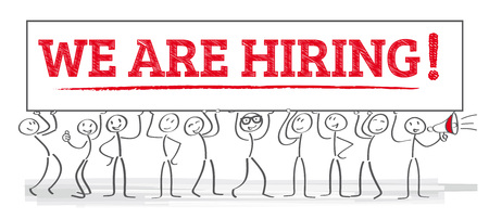 Illustration for We are hiring - team holding poster - Royalty Free Image