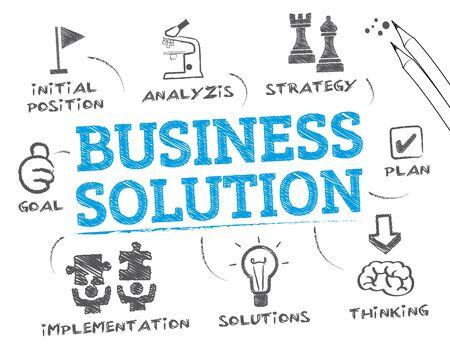 Illustration pour Business Solution. Chart with keywords and icons - image libre de droit
