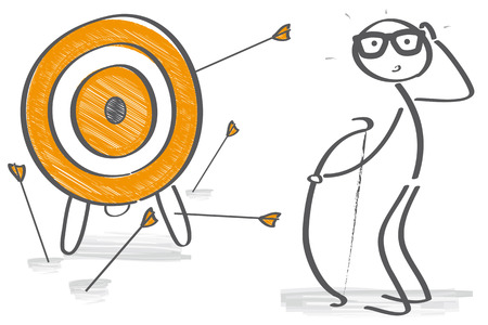 Illustration pour arrows missed their target - the Archer is frustrated - image libre de droit
