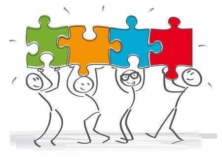 Illustration pour work together – stick figures with puzzle pieces - image libre de droit