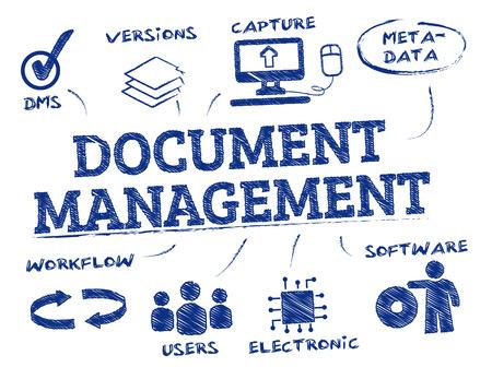 Illustration pour Document management. Chart with keywords and icons - image libre de droit