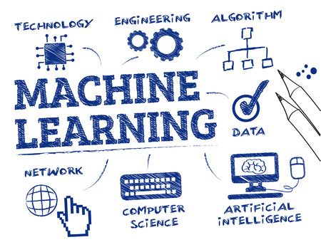 Illustration pour Machine learning. Chart with keywords and icons - image libre de droit