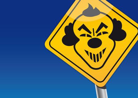 Illustration pour traffic sign of a scary evil clown - image libre de droit