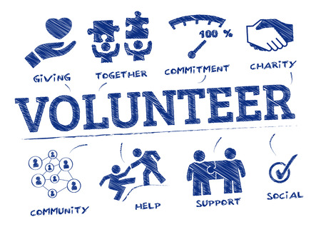 Illustration for volunteer. Chart with keywords and icons - Royalty Free Image
