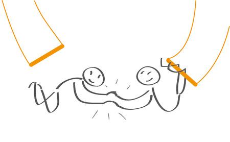 Illustration pour Trapeze artists have confidence - image libre de droit