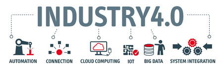 Illustration for Industry 4.0. Banner with keywords and icons - Royalty Free Image