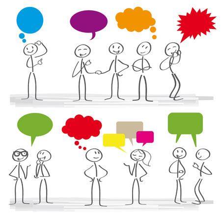 Illustration pour Stick figures with colorful dialog speech bubbles - image libre de droit