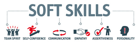 Illustration pour Banner of soft skills word with icon set and keywords in concept of human resource management and training. - image libre de droit
