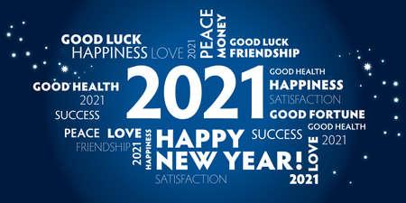 Ilustración de Postcard happy new year 2021 for celebration and season decoration - blue background - Imagen libre de derechos