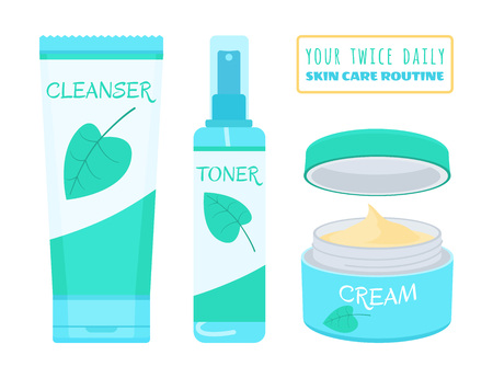 Illustration pour Cleanser, toner and cream. Vector illustration of products for daily face skincare routine. - image libre de droit